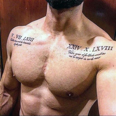 numeral chest tattoo roman numeral mens upper chest tattoo with quote design