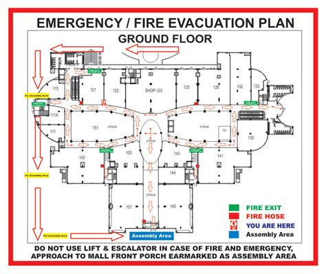 fire evacuation floor plan dlf emporio exit plan