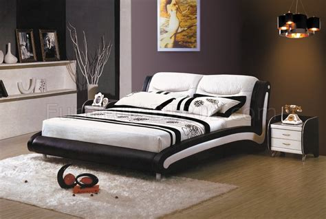Black White Headboard by Black Leatherette Modern Bed W White Headboard
