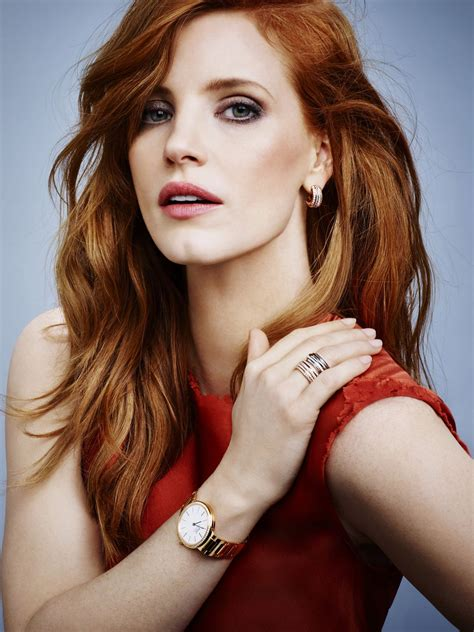 famous older actresses with red hair jessica chastain piaget jewerly 2015 ad caign
