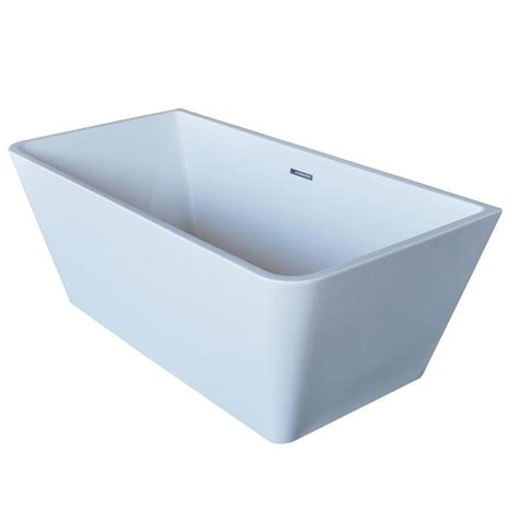 freestanding acrylic rectangular soaking bathtub