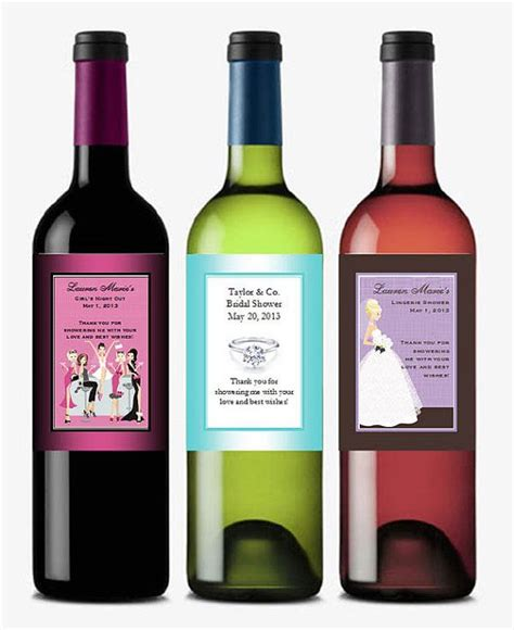 personalized bridal shower wine bottle labels by