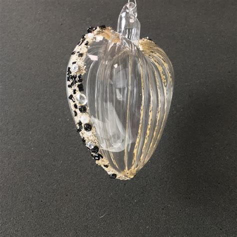 black beaded large clear glass heart decoration