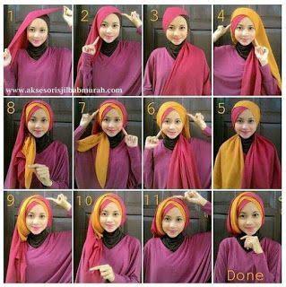 tutorial hijab paris kombinasi tile 31 best hijab tutorial images on pinterest
