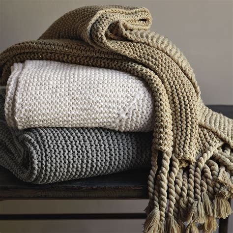 knitted throw blankets west elm chunky tassel knit decorative throw blanket light