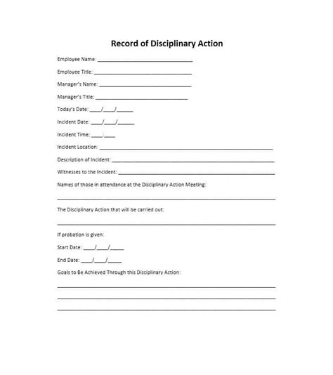 employee discipline form 40 employee disciplinary forms template lab