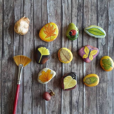 unique gifts home decor autumn decor pebbles art autumn leaves unique gift