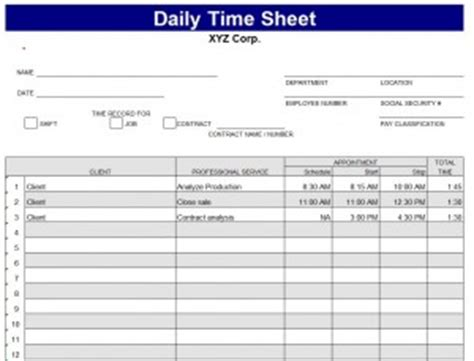 daily time card template daily timesheet template daily timesheet template excel