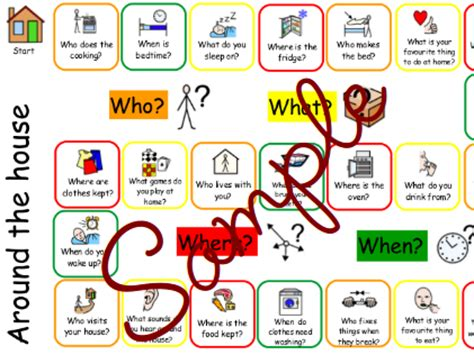 juegos preguntas wh wh question board game around the home by zvlovegrove