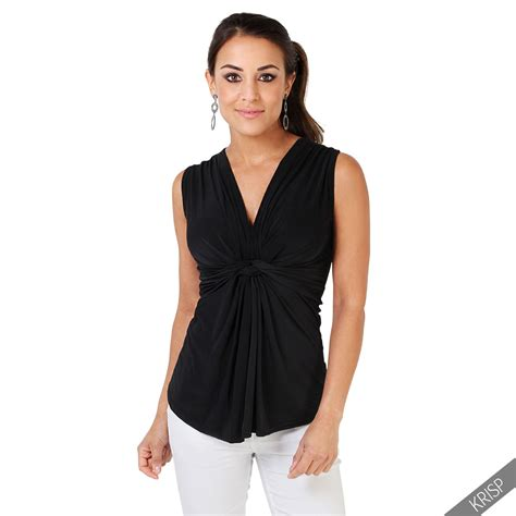 Wst 12875 V Neck Mesh Top by Womens Sleeveless Silky Knot Front Plunge V Neck Blouse