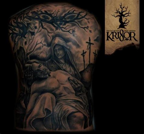 back religious tattoo by kri8or