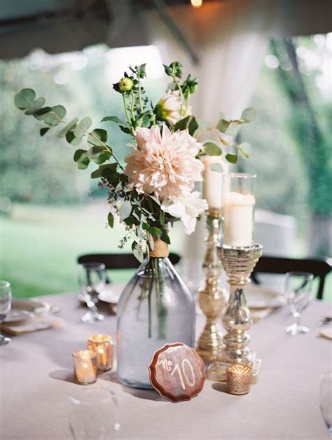 Schlichte Tischdeko Hochzeit by Picture Of Tablescape With Blush Florals Candles