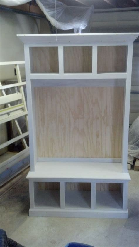 wide beadboard hall tree  storage cubbies