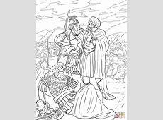 Ausmalbild: David verschont König Saul   Ausmalbilder ... Judenstern