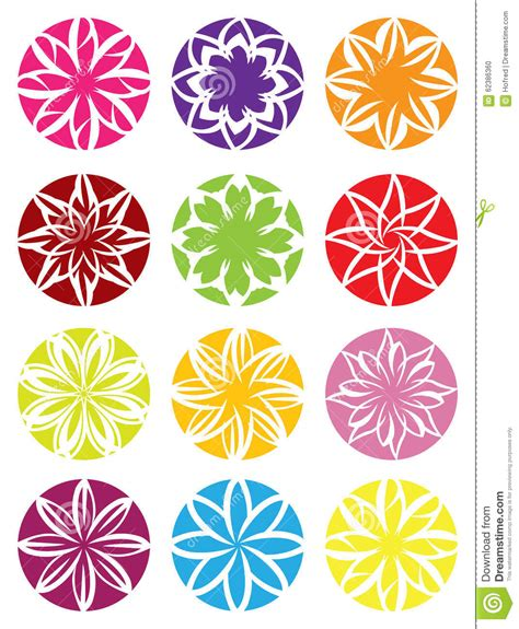 flower pattern in circle flower patterns in circle vector design stock vector