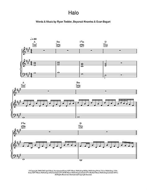 tutorial piano halo halo sheet music by beyonc 233 piano vocal guitar 48247