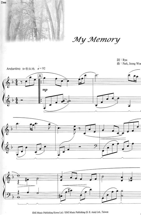 tutorial piano winter sonata winter sonata my memory ryu piano sheet music