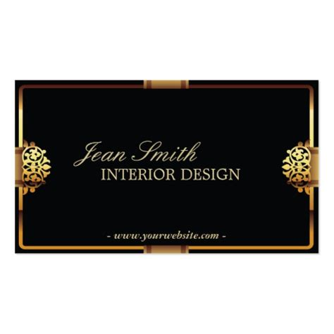 deluxe gold frame interior design business card zazzle