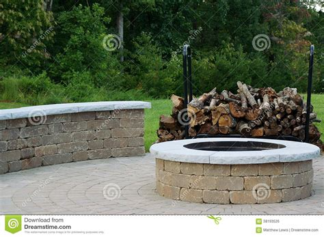 patio with fire pit built in outdoor fire pit stock photo image 58193526