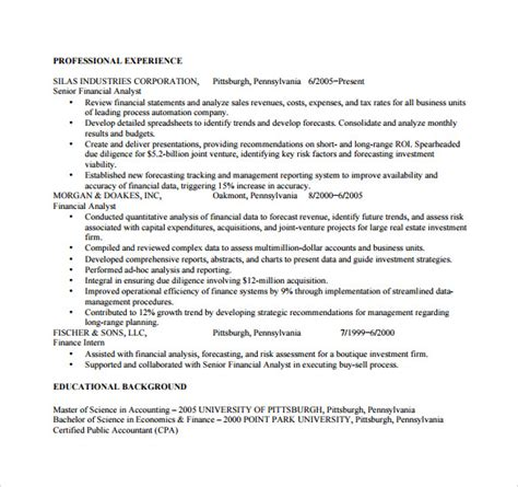 Resume For Business Analyst Pdf Sle Business Analyst Resume 8 Documents In Pdf Word