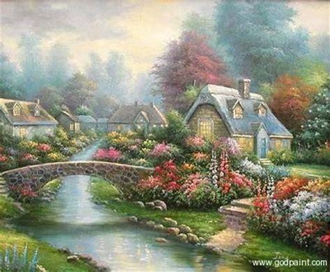oil paintings  thomas kinkadeflower garden oil painting