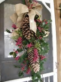 burlap pine cone swag front door decorations