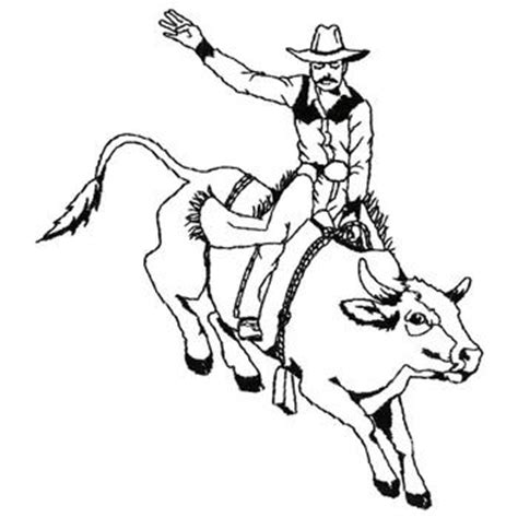 animals embroidery design bull rider outline from dakota
