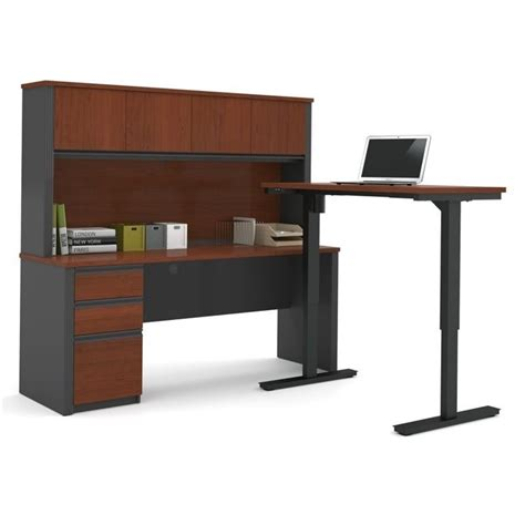 bestar prestige l desk bestar prestige l shape desk with hutch in bordeaux and