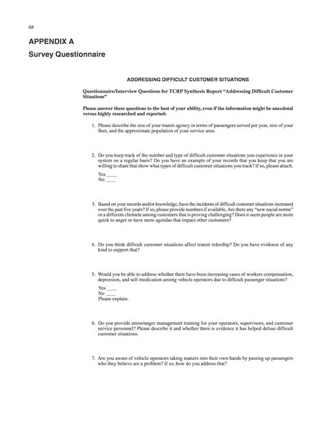 Inappropriate Or Question Appendix A Survey Questionnaire Addressing Difficult