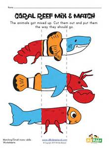 ocean animals mix and match worksheet