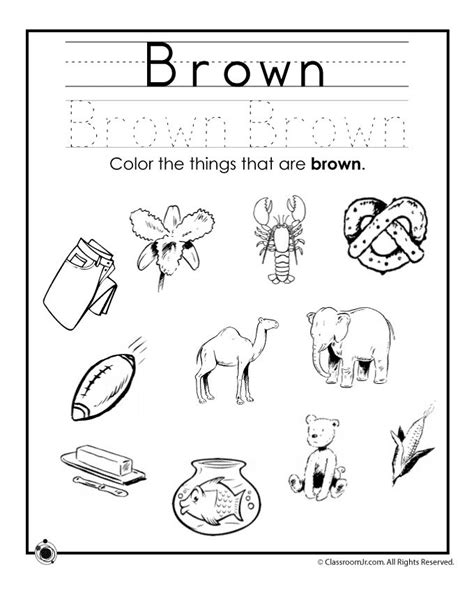 printable worksheets for junior kindergarten learning colors worksheets for preschoolers color brown