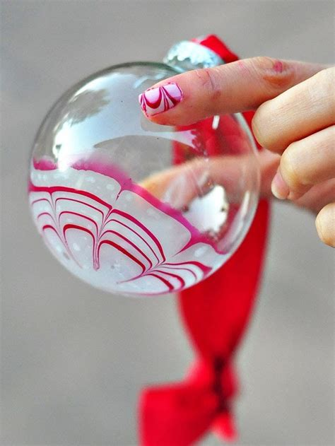 water marble candy cane glass ornament  nail polish