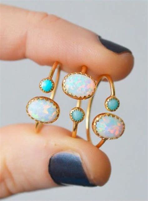 turquoise opal opals turquoise and rings on