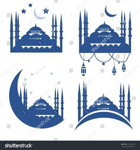mosque pledge cards template muslim community greetings card vector template stock