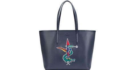 New Tote Bag Lacoste Motif Banyak lacoste large alligator motif tote in blue lyst