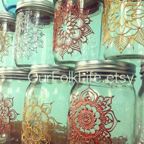 henna design mason jars handpainted gift jars mandala art for mason jars our