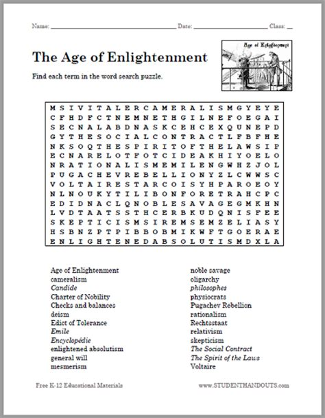 How To Search For On By Age The Age Of Enlightenment Word Search Puzzle Free To Print Pdf File