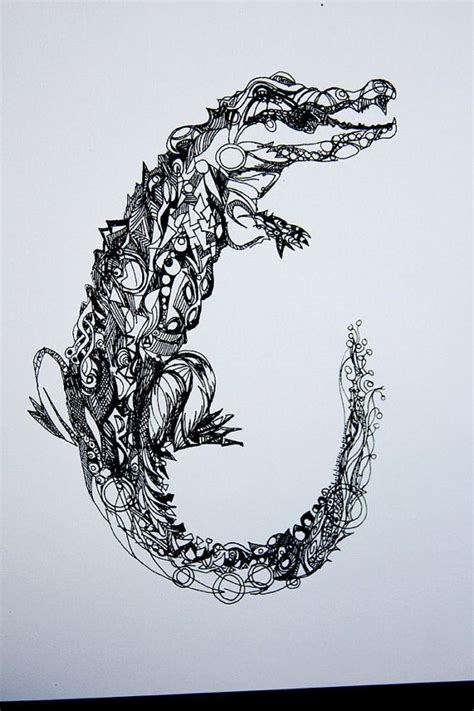 tribal crocodile tattoo designs black ink alligator design