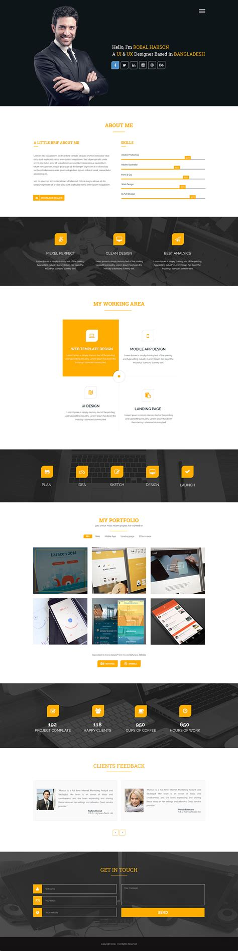 High Quality 50 Free Corporate And Business Web Templates Psd Download Download Psd Free Ux Portfolio Template