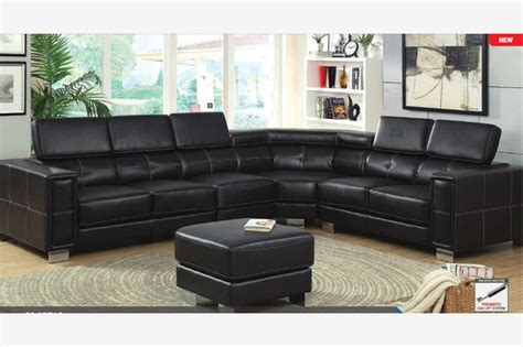 Large Black Leather Corner Sofa Modern Large Black Leather Sectional Corner Sofa Adjustable Headrests
