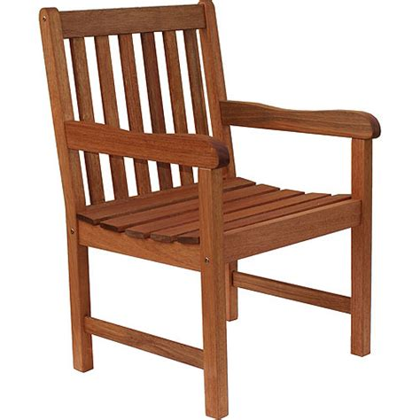 Wood Patio Chair Fsc Eucalyptus Wood Outdoor Chair Walmart