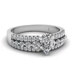 row pear engagement ring in 14k white gold