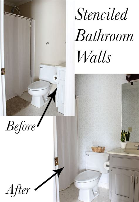 bathroom makeover stenciled walls plus a giveaway erin spain
