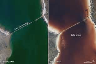 the color of water in july iran lake urmia turns blood in july 2016 pictures and