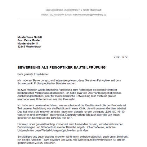 Bewerbungsschreiben Ausbildung Pharmakant Bewerbung Als Feinoptiker Feinoptikerin Bewerbung Co