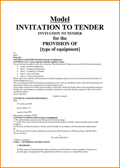 Job Sample Resume by 10 Invitation To Tender Letter Ledger Paper