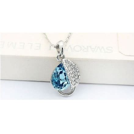 Kalung Cristal 3 Tingkat Fashion acacia leaves necklace 925 sterling silver