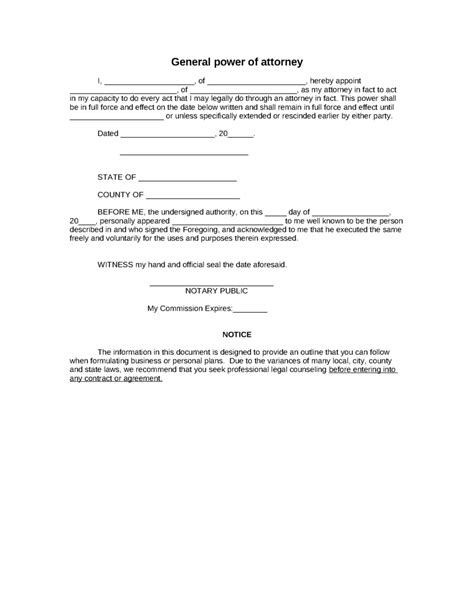free poa template sle general power of attorney form 8ws templates