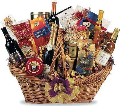 unique food gifts for christmas wine basket cocktail shaker wine liquor limes salt martini glasses etc ideas