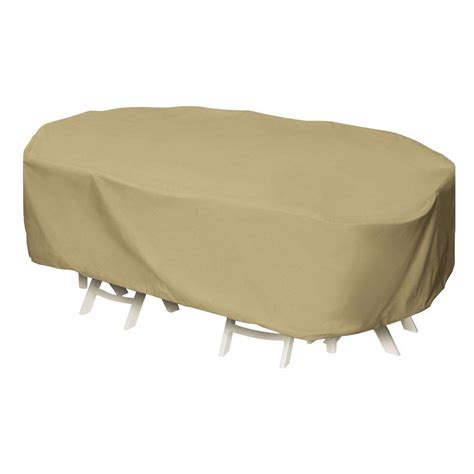 two dogs designs 92 in khaki oval rectangular patio table